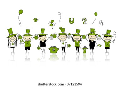 St. Patrick's Day, friends with beer mugs for your design