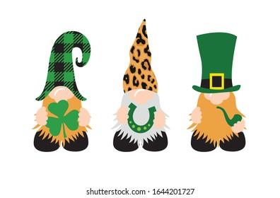 St. Patrick's Day Gnomes mit Shamrock und Hufeisen