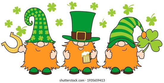 St. Patrick's Day Gnomes with shamrock and horseshoe