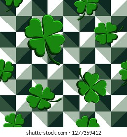 St Patricks Day Green Clovers seamless pattern on geometric background. Vector illustration for lucky spring design with shamrock. Ireland symbol pattern. Irish decorative wallpaper or web site design