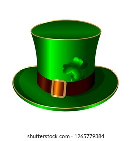 St. Patricks Day green hat. Belt buckle shamrock clover
