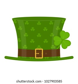 St Patrick's Day green leprechaun hat decorated with clover leaf, isolated on white background. Vector illustration of Irish holiday symbol