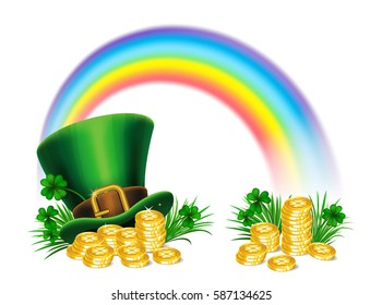 St. Patrick's Day green leprechaun hat with clover, gold coins and rainbow, St.Patrick's Day symbol. St.Patrick's Day background. Vector illustration