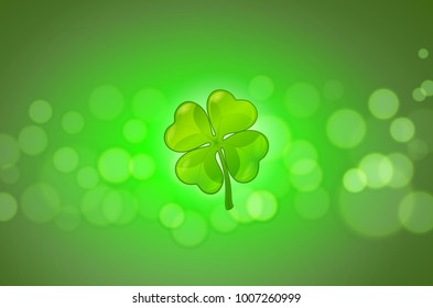 St. Patrick's day greeting card. Blurred background with clover.  Vector image