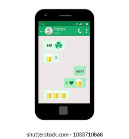 St. Patrick's Day greeting card. Mobile phone. Concept of social network. Vector illustration