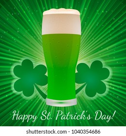 St. Patrick's Day greeting card on a bright green background with clover and glass of beer. Easy to edit vector design template for your artworks.