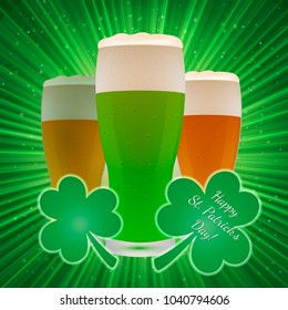St. Patrick's Day greeting card on a bright green background with clover and beer glasses. Easy to edit vector design template for your artworks.