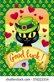 St. Patrick's  Day greeting card  with black cat in green hat