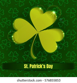 St. Patrick's Day greeting. Vector illustration with clover. Irish shamrock gobelin.