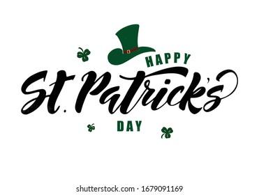 Saint-Patrick sur papier à lettres dessiné à la main avec des feuilles de trèfle. Conception pour poster, cartes, bannière. Illustration vectorielle.
