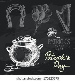 St. Patrick's Day hand drawn chalkboard design set. Black chalk texture