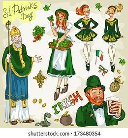 St. Patrick's Day - hand drawn clip art collection - part 2. Doodles, isolated
