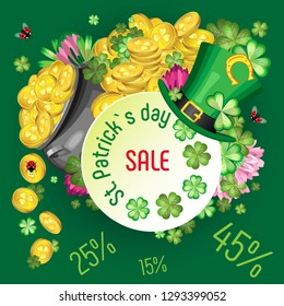 St. Patrick`s Day Holiday Discount Poster. A cauldron with gold coins, leaves and flowers of clover, flying ladybugs and a Leprechaun hat with a horseshoe in the foreground. Dark green background
