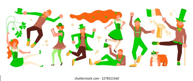 St Patricks Day Horizontal banner template. Cute cartoon leprechauns with mugs of beer dancing. Vector illustration eps