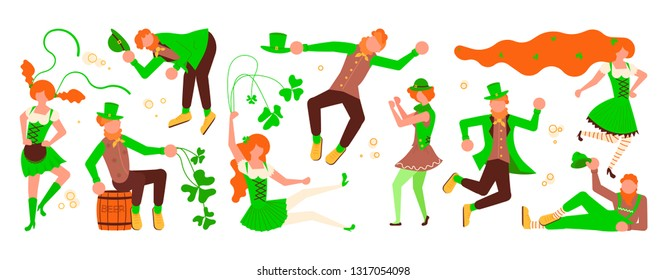 St Patricks Day Horizontal banner template. Cute cartoon leprechauns with mugs of beer dancing. Flat Art Vector illustration