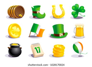 St. Patrick's Day icons and symbols set, vector illustration