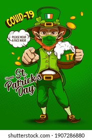 St. patrick's day invitation card. Image of The Leprechaun telling everyone to please wear a face mask in during COVID 19, character design, illustration celebration party poster on green background.