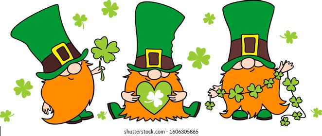 St. Patrick's Day Irish gnomes with clover for good luck. Cartoon vector Leprechauns illustration for cards, decor, shirt design, invitation to the pub.