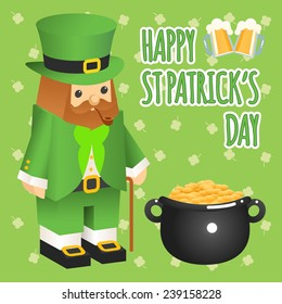 St. patricks day. Leprechaun in 3d flat style with pot of gold. Two glasses of beer and text. Vector illustration