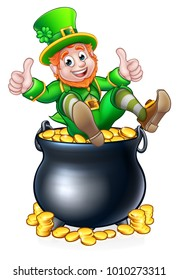 A St Patricks day leprechaun giving a thumbs up in a pot of gold coins