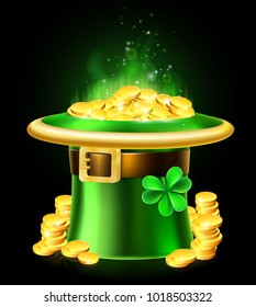 A St Patricks Day leprechaun green shamrock hat full of gold coins