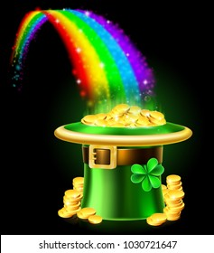 A St Patricks Day leprechaun green shamrock hat at the end of a rainbow full of gold coins