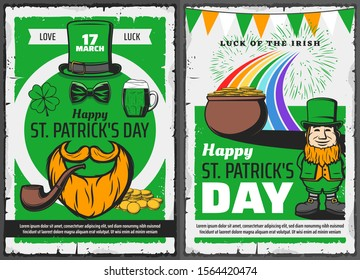 St Patricks Day leprechaun greeting posters, Irish holiday vector design. Celtic elf with green hat, pot with gold coins and shamrock clover leaves, beer, orange beard, smoking pipe and rainbow