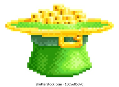 A St Patricks Day leprechaun hat full of gold coins icon in pixel art 8 bit arcade video game style graphic illustration