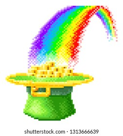 A St Patricks Day leprechaun hat full of gold coins at the end of a rainbow icon. In pixel art 8 bit arcade video game style graphic illustration