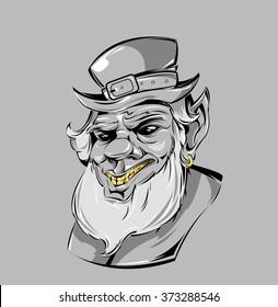 ac0ae681bd0 St. patricks day leprechaun portrait. SWAG evil leprechaun in cap print for  t-