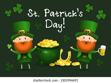 St Patricks Day lettering with Leprechauns and pot of gold. Saint Patricks Day greeting card. Handwritten text, calligraphy. For leaflets, brochures, invitations, posters or banners.