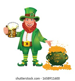 St Patrick's Day mascot character. Funny Leprechaun. Cute cartoon wearing green costume.Holding a pint of fresh beer.Pot of gold. Vector illustration on white background.