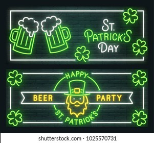 St. Patrick's Day neon sign. Web banner, logo, emblem and label. Neon sign, bright signboard, light banner. Vector illustration