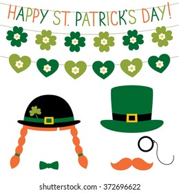 St. Patrick's Day photo booth props vector set