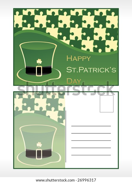 st. patrick's day postcard with hat vector