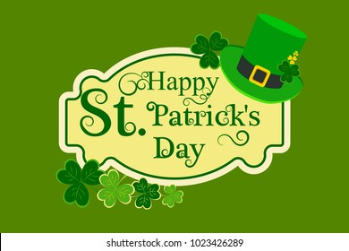 fba58419f573 St. Patrick's Day poster. Elements of the holiday, hat, clover, inscription