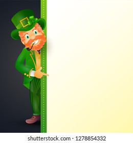 St. Patrick's Day poster or greeting card design with character of leprechaun man and space for your message.