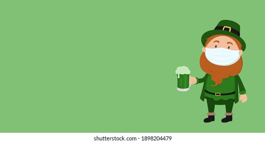 St. Patrick's Day poster. Leprechaun in face mask. Vector illustration.