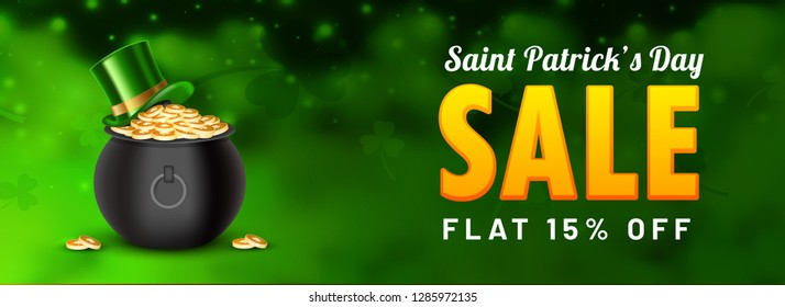 St. Patrick's Day Sale header or banner design with 15% discount offer, coins pot and leprechaun hat illustration on green blurred background.