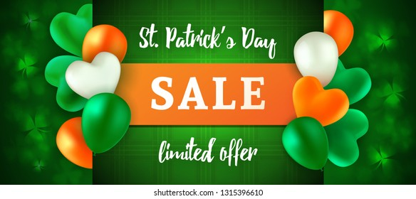 St Patrick's Day Sale. Vector template for advertising banner, poster or flyer. Glossy balloons colored in the colors of the Irish flag. Blurred background with leaves of shamrock