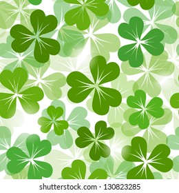 St. Patrick's day seamless background with shamrock. Vector EPS-10.