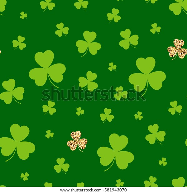 St. Patrick's day. Seamless background green clover. Vector illustration.