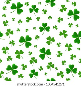 St. Patricks Day seamless pattern with threeclover leaves. Shamrock background. Trefoil backdrop