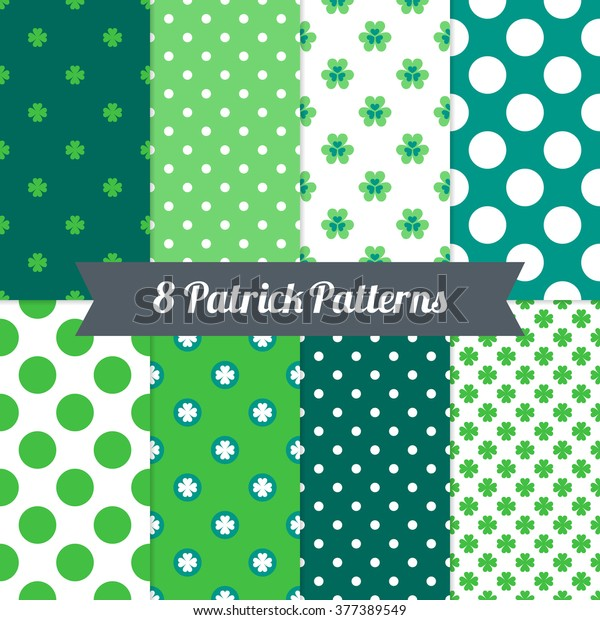 St. Patrick's Day seamless patterns with Polka Dot and Clover in Green, Dark Green, Teal and White. Perfect for wallpapers, gift papers, patterns fills, textile, St. Patrick's Day greeting cards