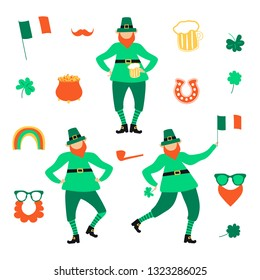 St Patricks Day set with flat leprechauns and mug of beer,  cloverleafs, glasses with beards, mustache, Irish flag, horseshoe and rainbow, pot of gold coins, smoking pipe. Vector illustration