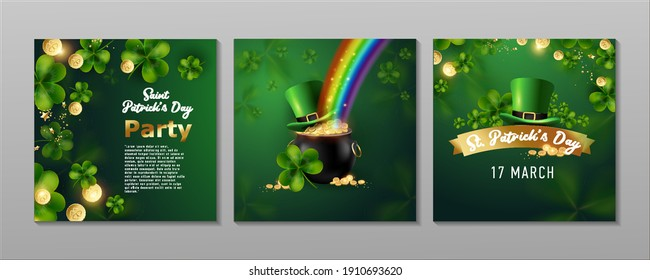 St. Patrick's Day set of flyers brochures, invitation to a holiday, corporate holiday. a leprechaun hat, a shamrock, a pot of gold coins, a rainbow, on a dark green background. Vector illustration.