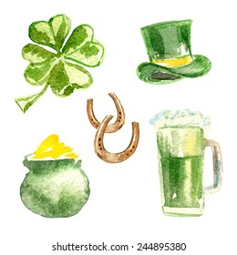 St. Patrick's Day set.  Four-leaf clover, St. Patrick's hat, pot of gold, beer and horseshoes. Watercolor. Vector illustrations.