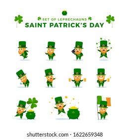 St. Patrick's Day. Set Of Leprechauns. Vector Illustration