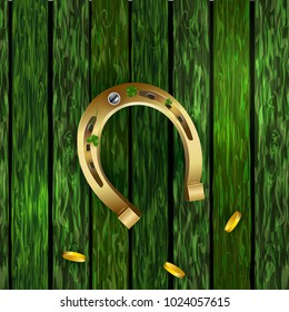 St Patricks Day shamrock with horseshoe on green wooden surface. Vector Illustration of a St. Patrick's Day Background.