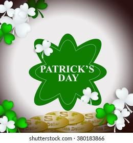 St Patrick's Day Shamrock Leaves Border Background Illustration Vector. Set of Typographic Design Badges for Saint Patrick's Day
